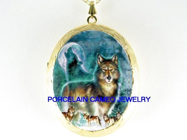 6 WOLF PACK HOWLING MOON PORCELAIN CAMEO LOCKET NECKLACE