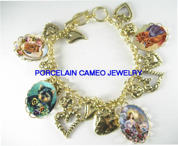 ANGEL ROSE YORKSHIRE PORCELAIN 13 HEART CHARM BRACELET