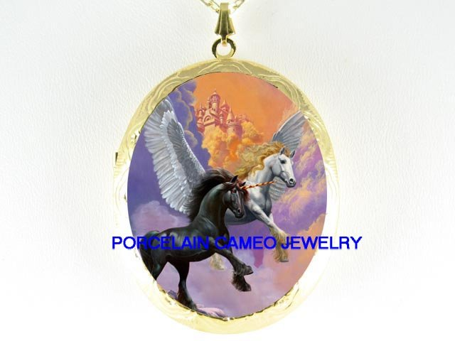 2 BLACK UNICORN PEGASUS HORSE CAMEO PORCELAIN LOCKET NK