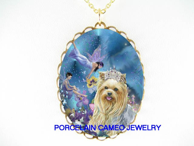 CROWN YORKSHIRE DOG BUTTERFLY FAIRY CAMEO NECKLACE