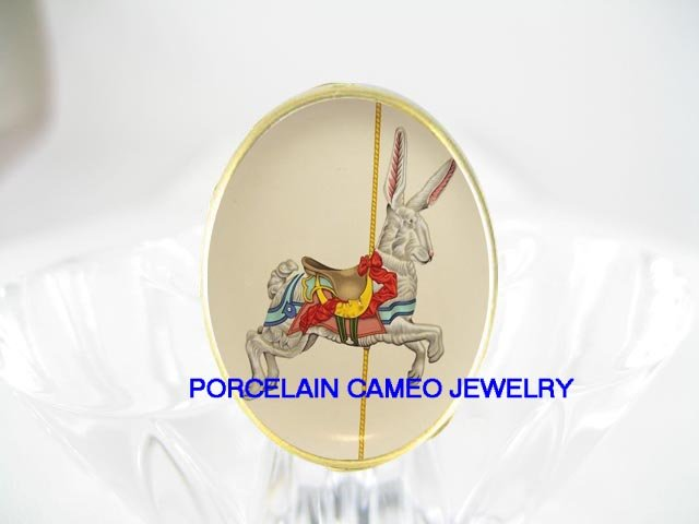 RABBIT BUNNY CAROUSEL HORSE PORCELAIN CAMEO RING 5-9