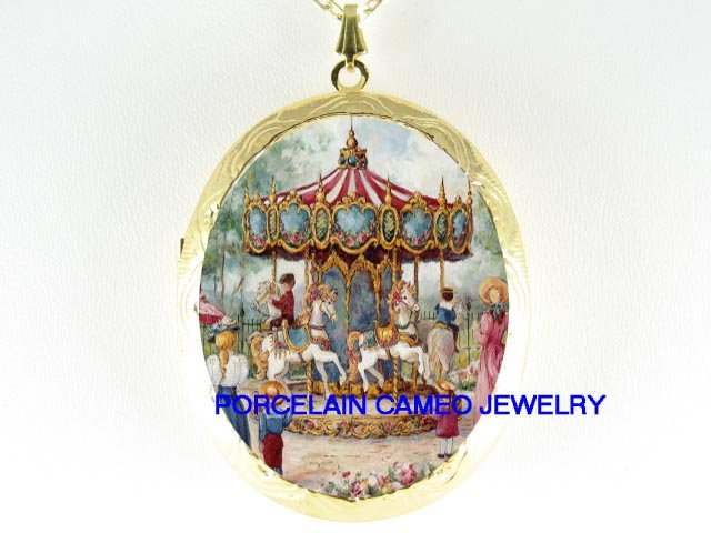 VICTORIAN CHILDREN CAROUSEL CAMEO PORCELAIN LOCKET NK
