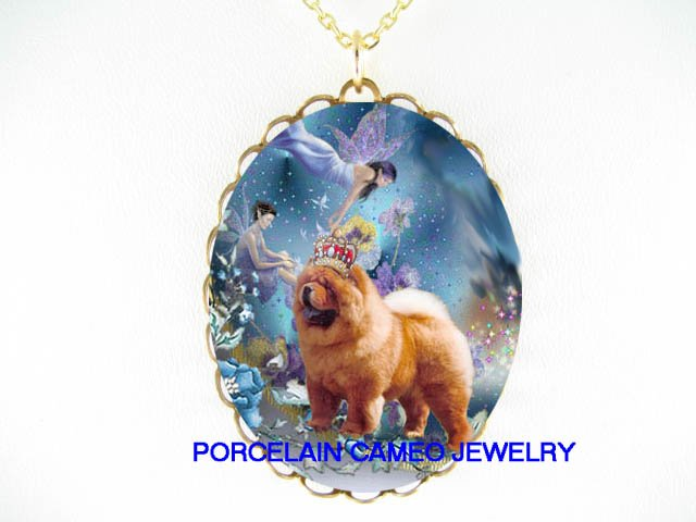 CROWN CHOW CHOW DOG WITH BUTTERFLY FAIRY* CAMEO PORCELAIN NECKLACE