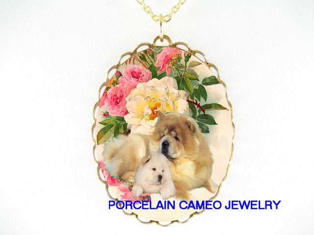 2 CHOW CHOW DOG MOM KISSING PUPPY ROSE CAMEO NECKLACE