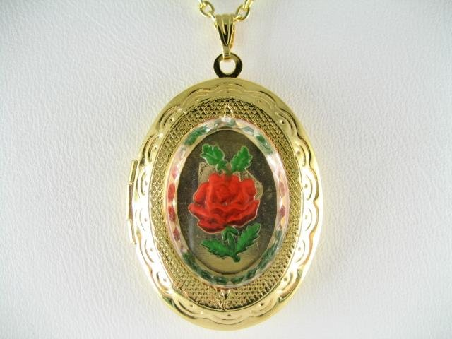 VICTORIAN RED ROSE VINTAGE CAMEO LOCKET NECKLACE 13X18