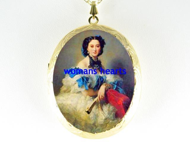 VICTORIAN ROYAL PRINCESS *  CAMEO PORCELAIN LOCKET NECKLACE