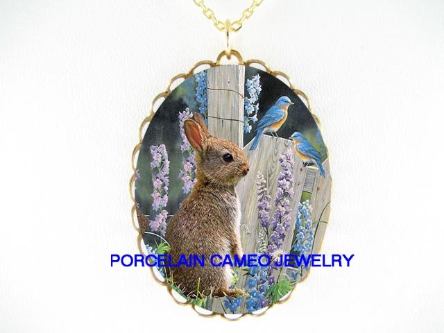 RABBIT BUNNY  2 BLUE BIRD BELL FLOWER CAMEO NECKLACE
