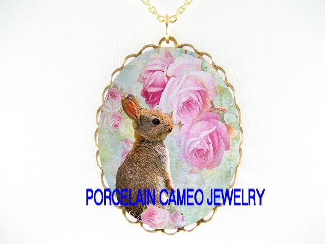 RABBIT BUNNY VICTORIAN ROSE PORCELAIN CAMEO NECKLACE