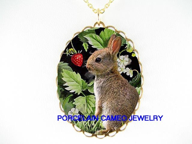 RABBIT BUNNY WITH STRAWBERRY CAMEO PORCELAIN NECKLACE