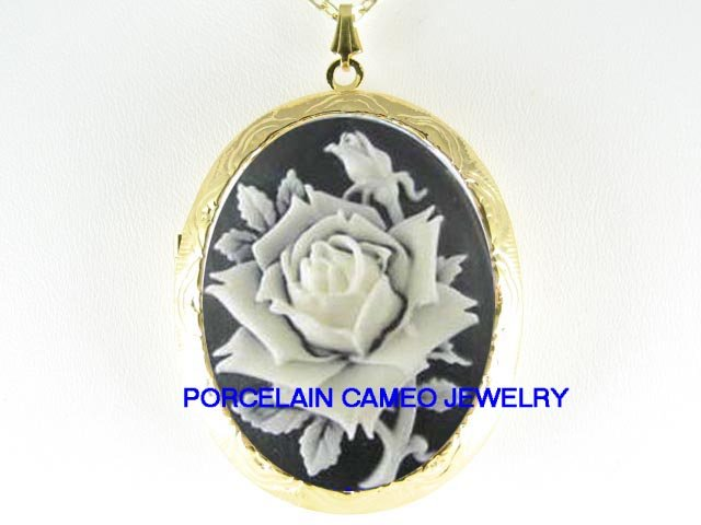 VICTORIAN BLACK WHITE ROSE VINTAGE CAMEO LOCKET NECKLACE