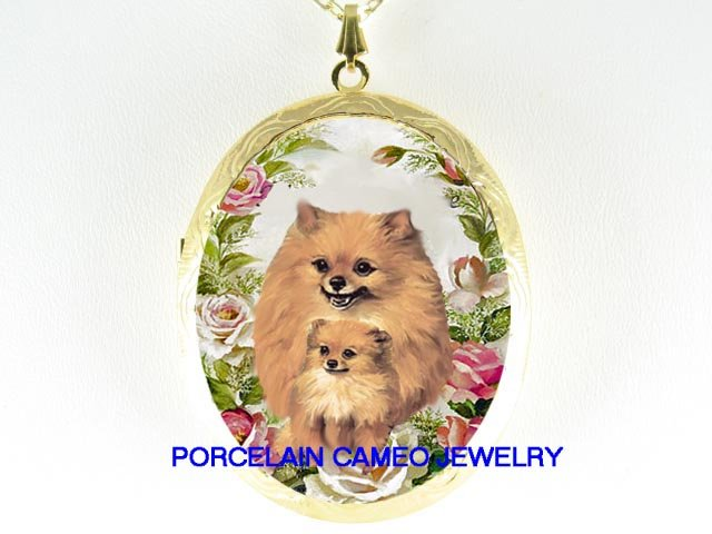2 POMERANIAN DOG MOM PUPPY ROSE CAMEO LOCKET NECKLACE