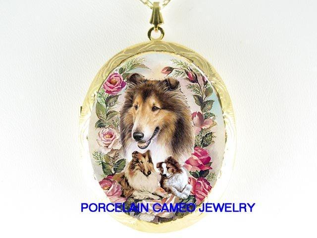 COLLIE DOG MOM PUPPY ROSE PORCELAIN CAMEO LOCKET NK