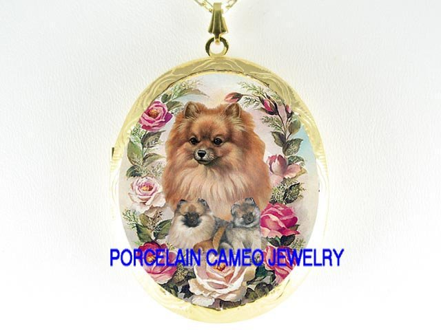 POMERANIAN MOM PUPPY DOG ROSE PORCELAIN CAMEO LOCKET