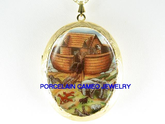 CHRISTIAN NOAHS ARK ANIMAL PORCELAIN CAMEO LOCKET NECKLACE