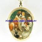3 VICTORIAN SISTERS SAINT BERNARD DOG CAT CAMEO PORCELAIN LOCKET