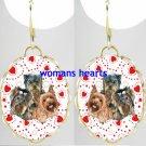 3 YORKSHIRE TERRIER VALENTINE LOVE HEART CAMEO PORCELAIN EARRINGS