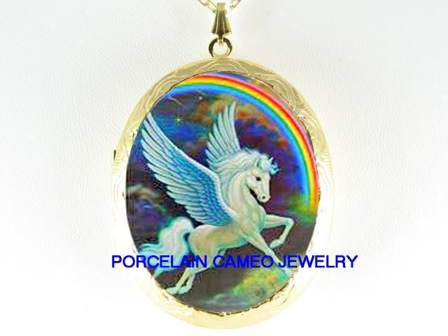PEGASUS HORSE RAINBOW CAMEO PORCELAIN LOCKET NECKLACE
