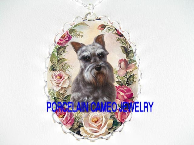 SCHNAUZER DOG PINK ROSE * CAMEO PORCELAIN NECKLACE