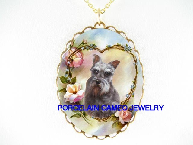 SCHNAUZER DOG VALENTINE HEART ROSE CAMEO PORCELAIN NECKLACE