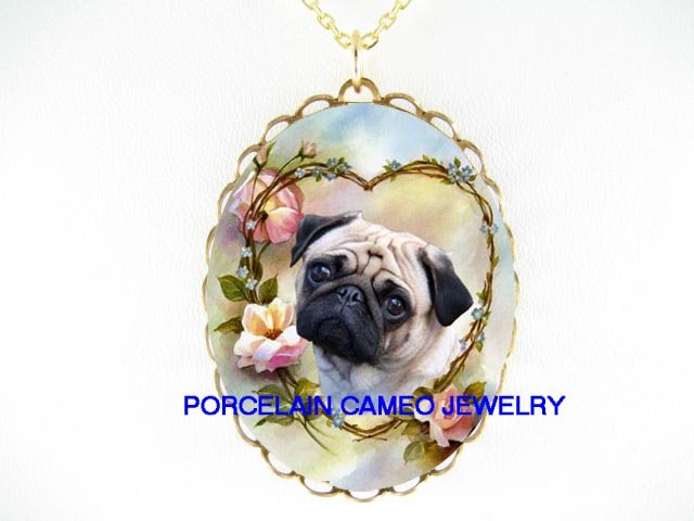 PUG DOG VALENTINE HEART ROSE CAMEO PORCELAIN NECKLACE