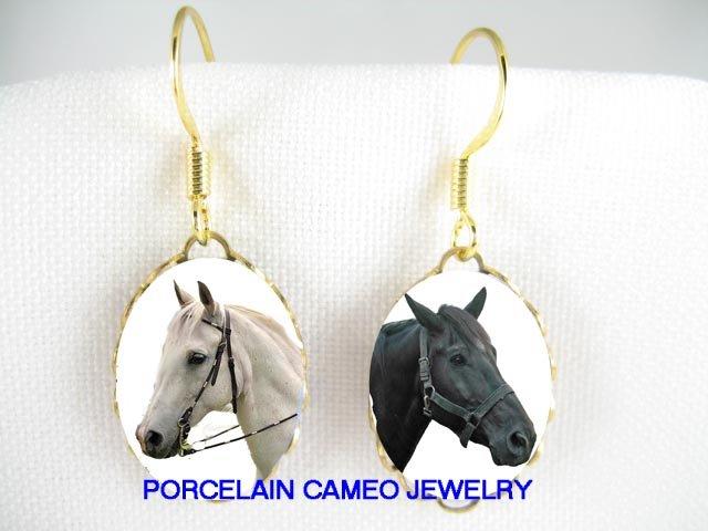 2 BLACK  WHITE STALLION HORSE  CAMEO PORCELAIN EARRINGS