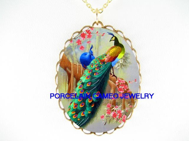 2 BLUE PEACOCK CHERRY BLOSSOMS CAMEO PORCELAIN NECKLACE