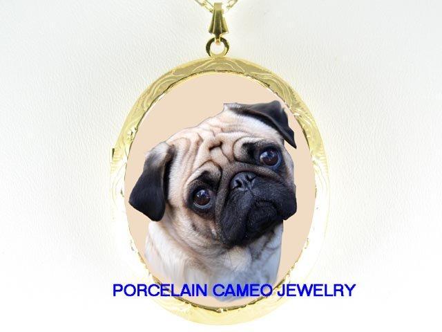 SWEET FAWN PUG DOG CAMEO PORCELAIN  LOCKET NECKLACE