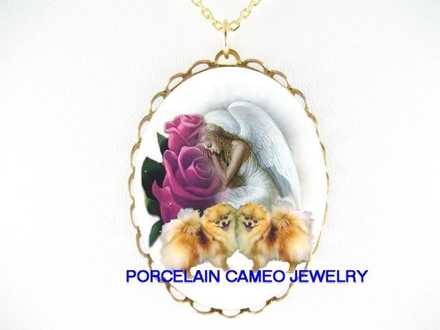 2 POMERANIAN DOG ANGEL PURPLE ROSE PORCELAIN NECKLACE