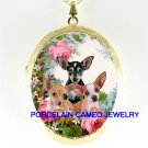 3 CHIHUAHUA PUPPY DOG ROSE PORCELAIN CAMEO LOCKET NK