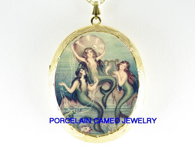 VINTAGE MERMAID SISTERS PORCELAIN CAMEO LOCKET NECKLACE