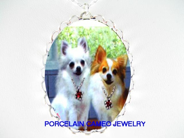 2 JEWELED WHITE LONG HAIR CHIHUAHUA DOG  CAMEO PORCELAIN NECKLACE
