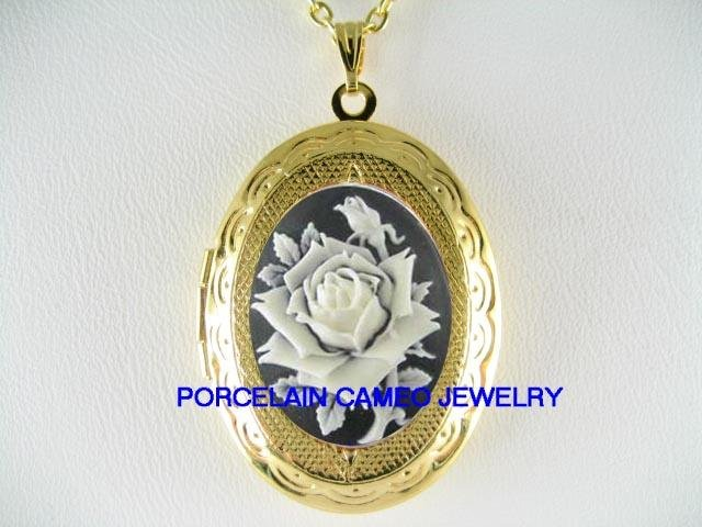VICTORIAN BLACK WHITE ENGLISH ROSE VINTAGE CAMEO LOCKET NECKLACE