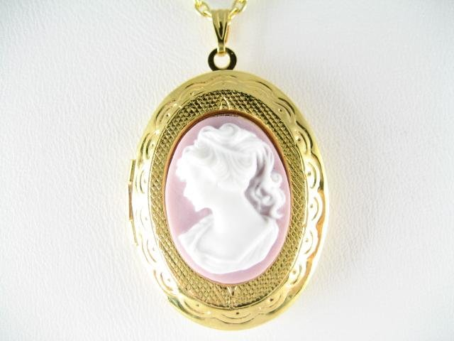 VICTORIAN PURPLE WHITE PONYTAIL LADY VINTAGE CAMEO LOCKET NECKLACE