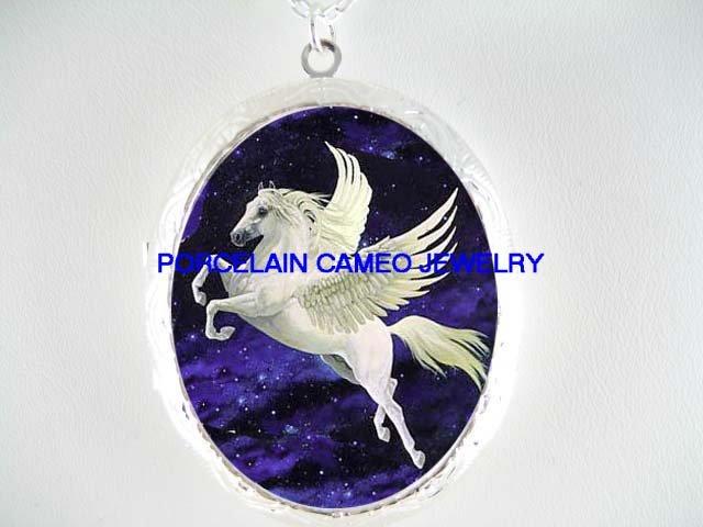 WHITE PEGASUS HORSE CAMEO PORCELAIN LOCKET NECKLACE