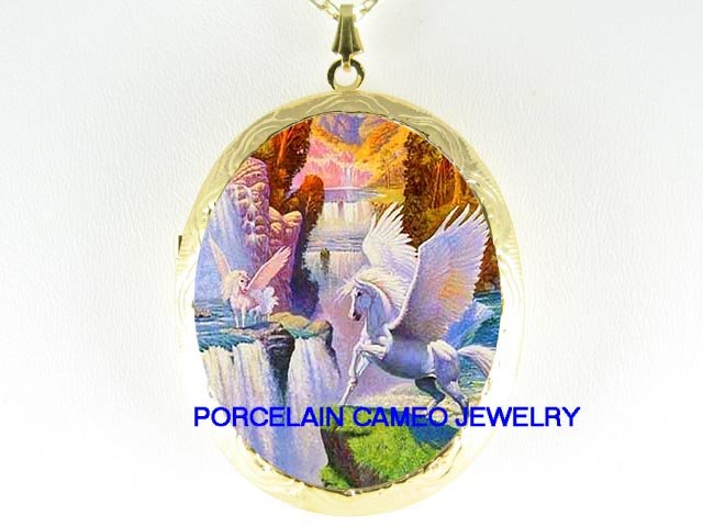 3 PEGASUS HORSE FAMILY WATERFALL  *  CAMEO PORCELAIN LOCKET NECKLACE