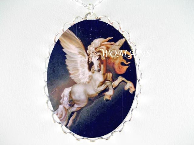 WHITE PEGASUS HORSE CAMEO PORCELAIN NECKLACE