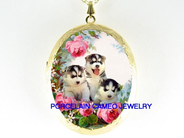 3 SIBERIAN HUSKY PUPPY DOG ROSE  * CAMEO PORCELAIN LOCKET NECKLACE
