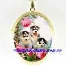 3 SIBERIAN HUSKY PUPPY DOG ROSE  * CAMEO PORCELAIN LOCKET NECKLACE
