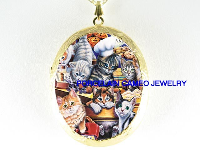 KITTY CAT COLLAGE BAKERY PORCELAIN CAMEO LOCKET NECKLACE