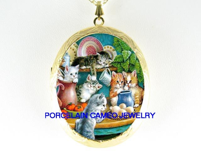 6 KITTY CAT COLLAGE KITCHEN CAMEO PORCELAIN LOCKET NECKLACE