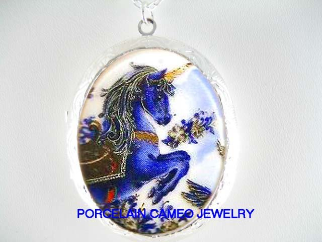 BLUE UNICORN HORSE PORCELAIN CAMEO LOCKET NECKLACE