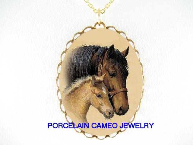 MARES & FOAL HORSE CUDDLING PORCELAIN CAMEO NECKLACE