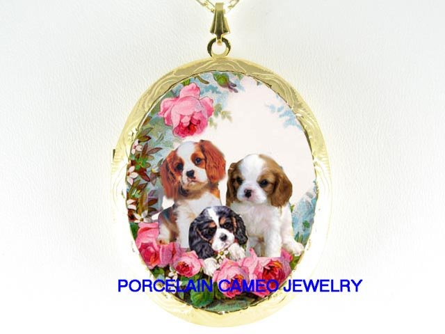 3 CAVALIER KING CHARLES SPANIEL PUPPY DOG ROSE LOCKET