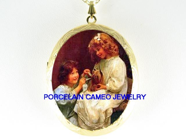 VICTORIAN GIRL SISTERS DRESS UP YORKSHIRE DOG CAMEO PORCELAIN LOCKET NECKLACE