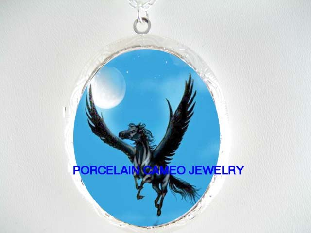 BLACK PEGASUS HORSE MOON  CAMEO PORCELAIN LOCKET NECKLACE