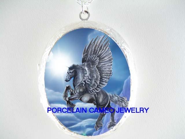 BLACK PEGASUS HORSE SUN CAMEO PORCELAIN LOCKET NECKLACE