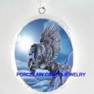 BLACK PEGASUS HORSE SUN CAMEO PORCELAIN LOCKET NECKLACE