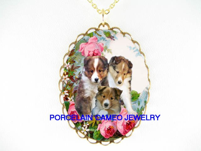 3 SHELTIE DOG PUPPY DOG ROSE PORCELAIN CAMEO NECKLACE
