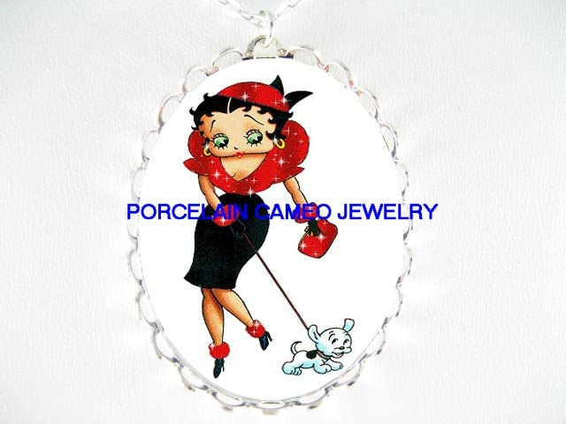 RED DRESS BETTY BOOP WALKING WITH DOG * CAMEO PORCELAIN NECKLACE