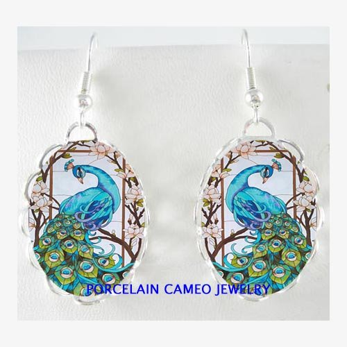 BLUE PEACOCK BIRD WITH DOGWOOD PORCELAIN CAMEO EARRINGS